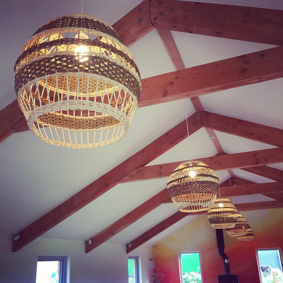 woven lampshade installed