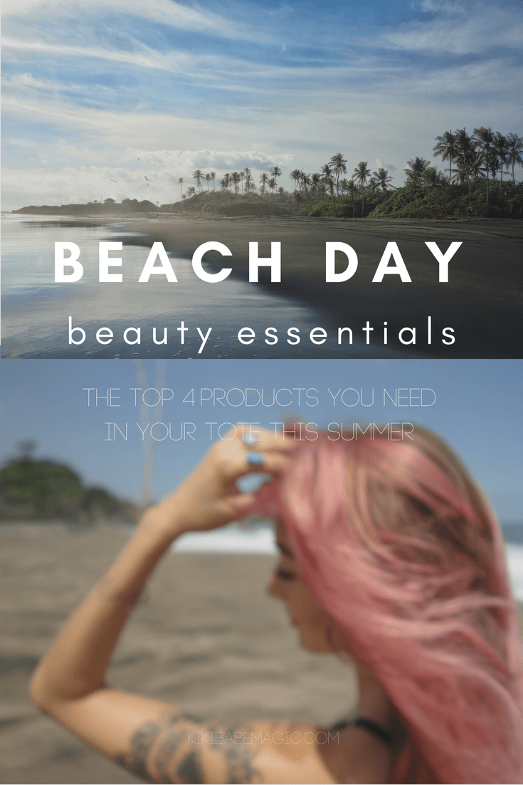 Beach Day Beauty Essentials: The top 4 products you need in your tote all summer. #skincare #makeup #spf #haircare