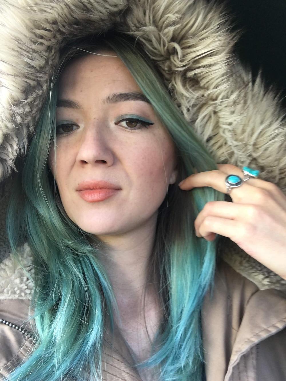 Turquoise blue hair color by Kiriko Kikuchi