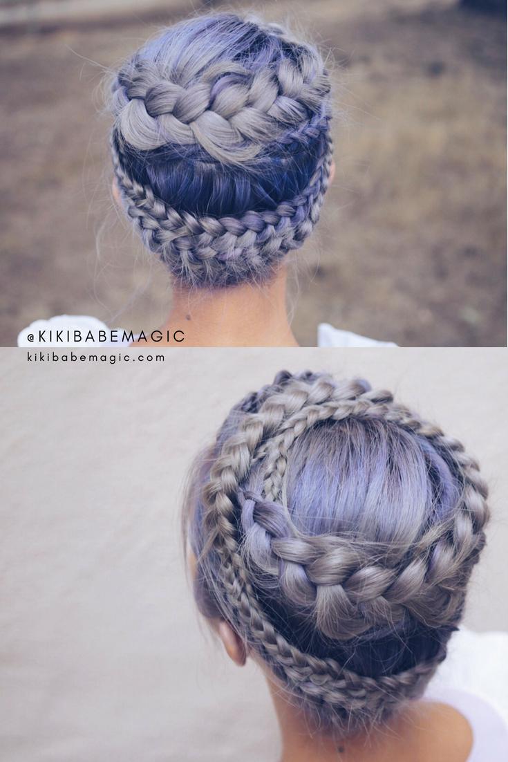 Silver-purple-blue hair color double braid crown by Kiriko Kikuchi