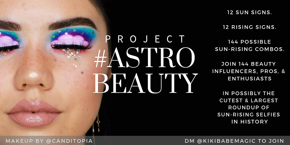 Project #Astrobeauty promotional image featuring cloud eye makeup by @Canditopia