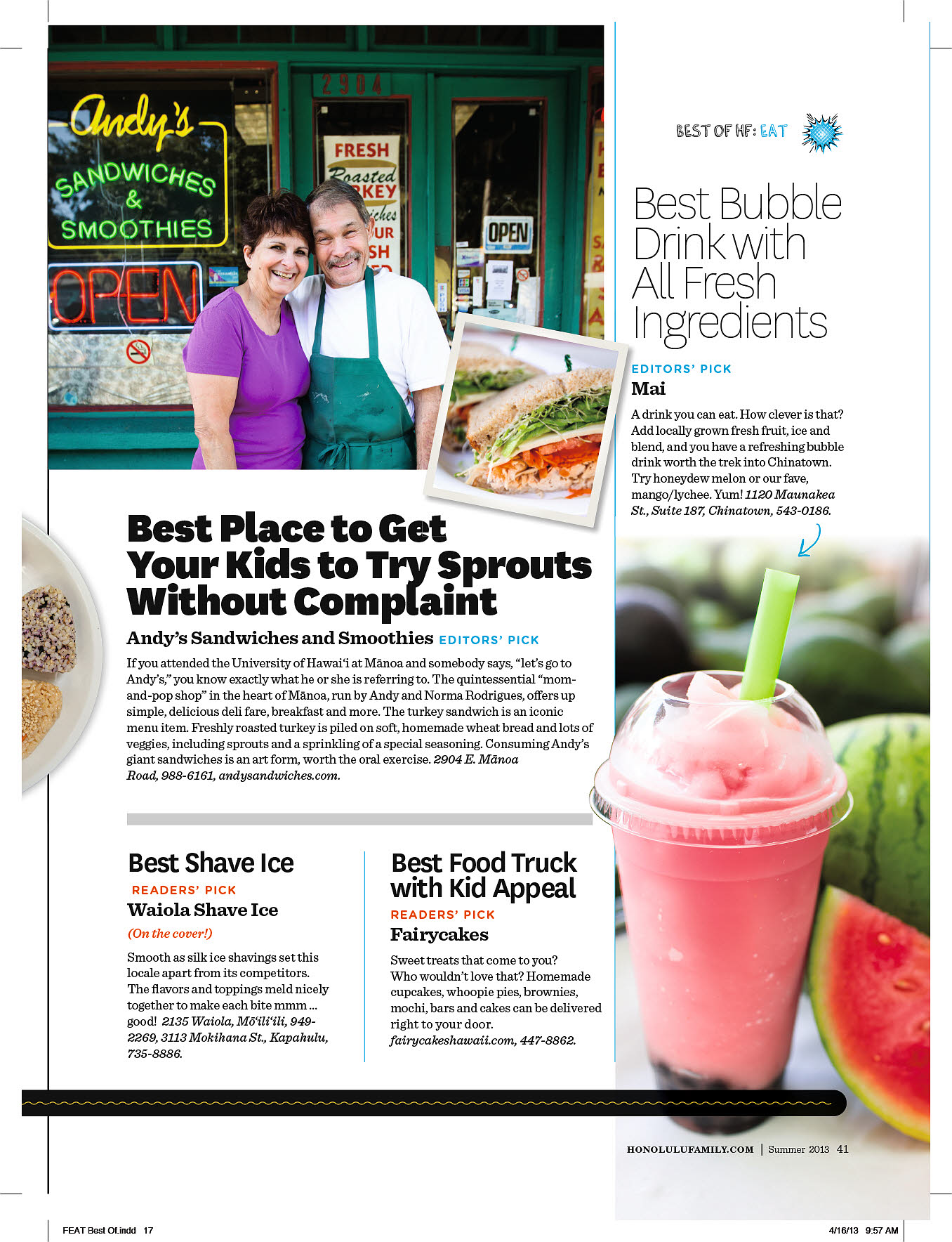 Honolulu Family Magazine Best Of '13