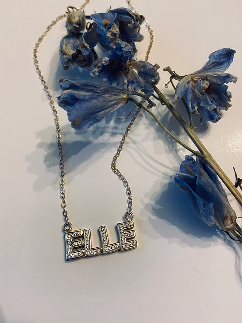 Ice encrusted name bar necklace