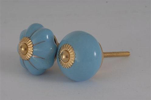 ידית כפתור תכלת בצורה עגולה או בצורת פרח עם גימור זהב