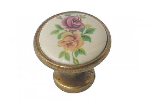 כפתור ברונזה פרח צבעוני