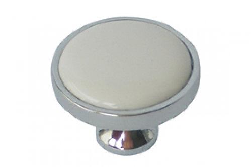 כפתור פורצלן ניקל מבריק + לבן