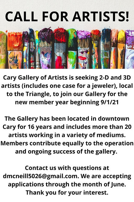 Cary Gallery of Artists is seeking 2-D a