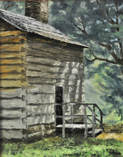 Cabin in the woods, 16 x 20 inches