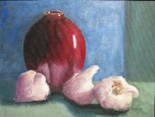 Red Vase and Garlic