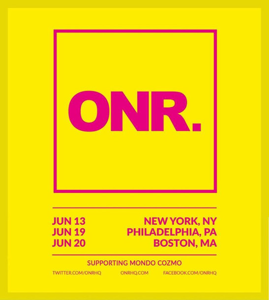 This Spring, critically acclaimed enigmatic Scottish artist ONR. will take  the stage for his live U.S. debut in support of Mondo Cozmo.