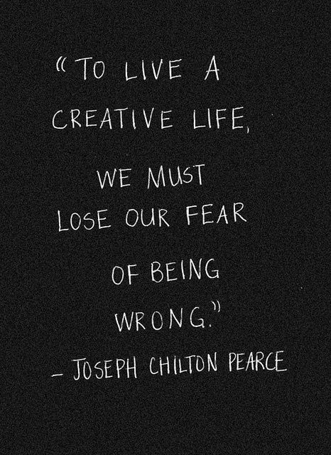 to live a creative, life, we must lose our fear, dark yellow dot