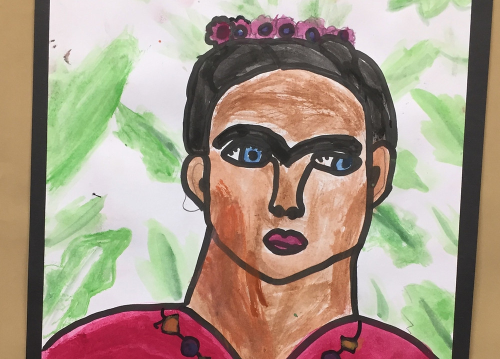 Painting of Frida Kahlo art project for kids