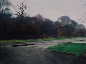 Landscape with Dogshit Bin, George Shaw Exhibition Review Adrian Coleman - Dark Yellow Dot