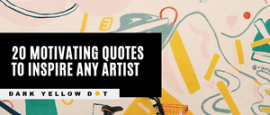 Motivating inspirational quotes and artist quotes - dark yellow dot