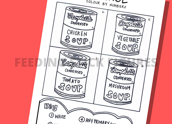 Warhol Soup Can Colouring Sheet