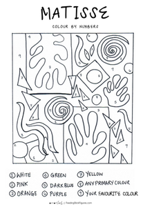 Matisse Colour by Numbers colouring sheet