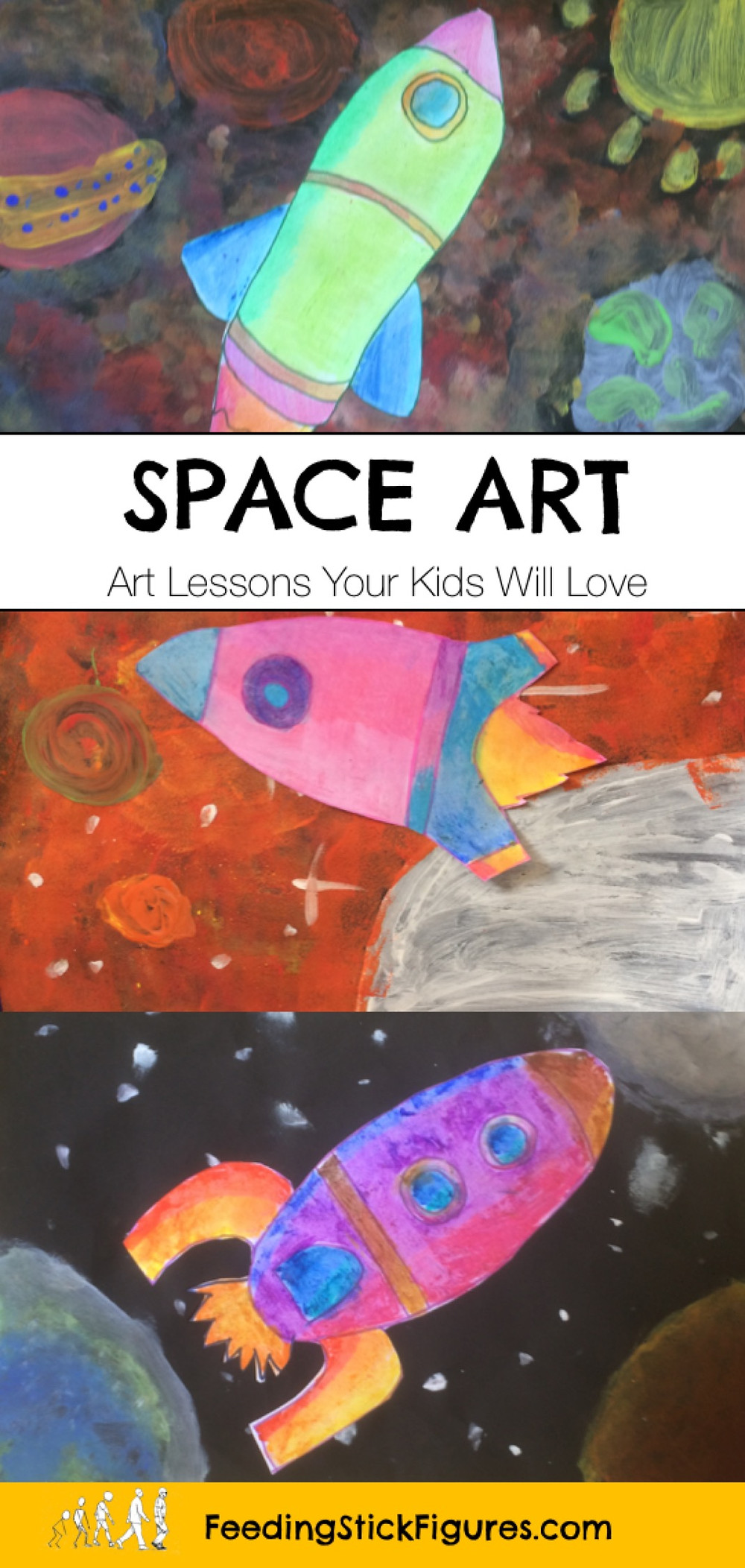 Peter Thorpe - Art lessons for kids by Feeding Stick Figures. Peter Thorpe art painting projects for primary school
