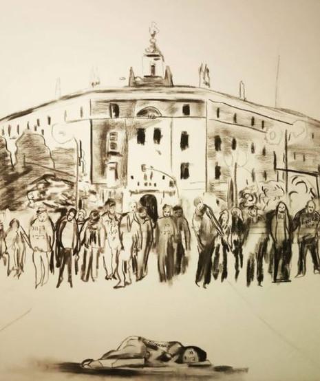 la muerte de la democracia charcoal on canvas 1.20 x 1.00 cm