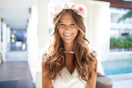 Happy Beautiful Bride Laughing Wedding Tablecloths at blush LULA