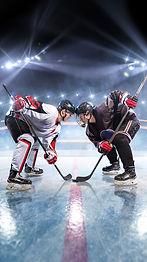Hockey players starts game. around Ice r