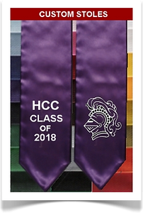 Custom satin pennant stoles from Senior Class Graduation Products.