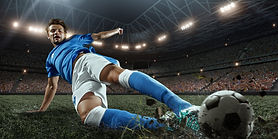Soccer player performs an action play on