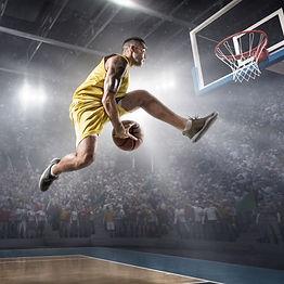 Basketball player on big professional ar