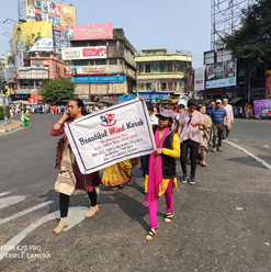 Students participated in a road walk on