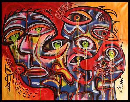 """Rock Bottom"" 38""x50"" acrylics on canvas - 2015"