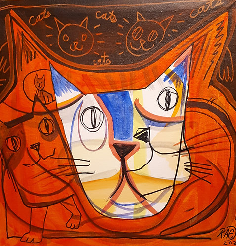 Cool cats 12x12 acrylics on canvas