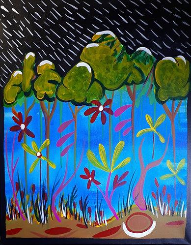 "Nature flip 16""x20"" Acrylics on canvas 2020"