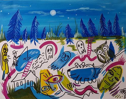"Groovy graveyard 16""x20"" Acrylicsand marker on canvas 2020"