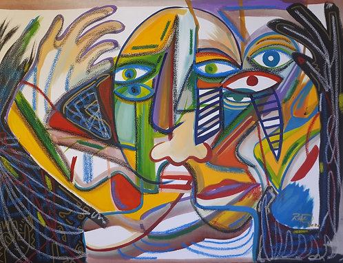 """Dizzy dude 16""""x20"""" Acrylics on canvas 2020"""