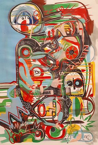 """""""zing zang"""" 42""""x28"""" acrylics on unstretched canvas"""