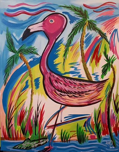 Pink Flamingo 16x20 acrylics on canvas 2020