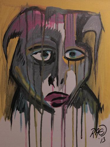 """""""Feel the Rain"""" 12"""" x 16"""" acrylics on canvas - 2013"""