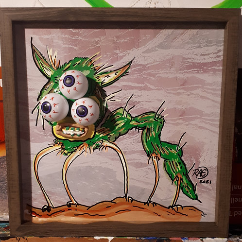Bug Eyed 10x10 3D - mixed media acrylics, framed 2021
