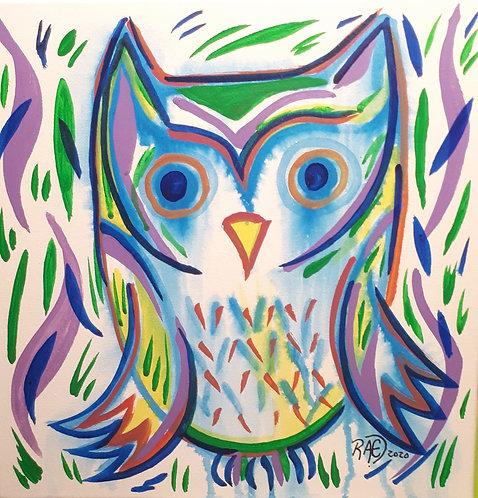 Funky Owl 10x10 acrylics on canvas 2020