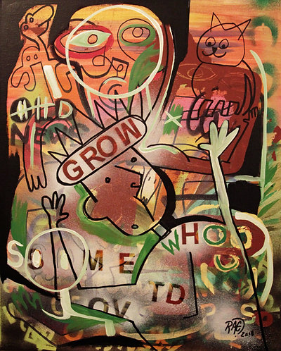 """""""Grow"""" 16""""x20"""" acrylics on canvas - 2018"""