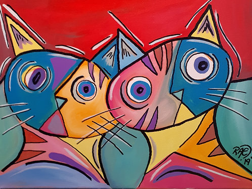 """curious cats"" 12"" x 16"" acrylics on canvas - 2019"