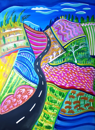 """Long road home 18""""×24"""" acrylics on canvas 2020"""