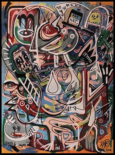 """Habitat"" 12""x16"" acrylics, inks on canvas - 2012"