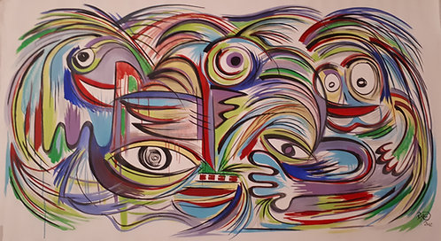 """swirly"" 62""x34"" acrylics on unstretched canvas"