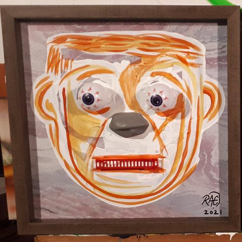 Worry Wart 10x10 3D - mixed media acrylics, framed 2021