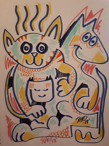 """""""cute friends"""" 8"""" x 11"""" markers on paper - 2018"""
