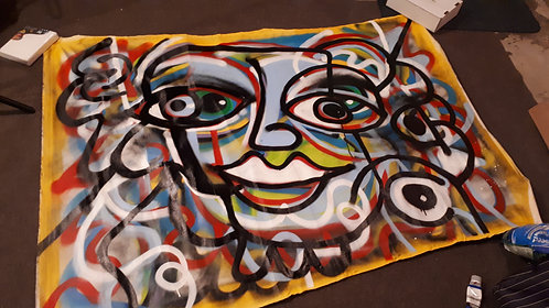 """""""graffiti face"""" 60""""x40"""" acrylics on unstretched canvas"""