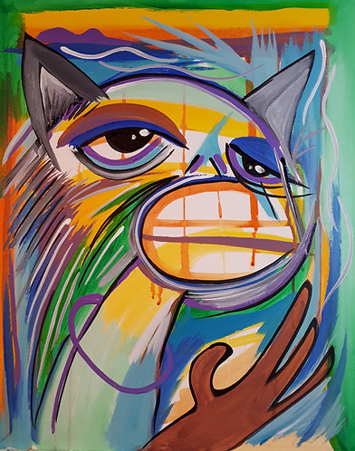 """""""Cat Thing"""" 16"""" x 20"""" acrylics on canvas - 2019"""