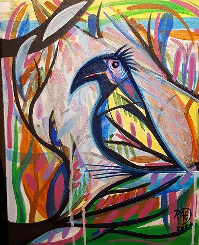 Funky bird 11x14 acrylics on canvas 2020