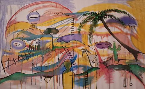 """Joyland"" 62""x40"" acrylics on unstretched canvas"