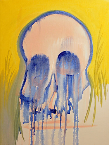 """Melting Skull"" 12"" x 16"" acrylics on canvas - 2017"